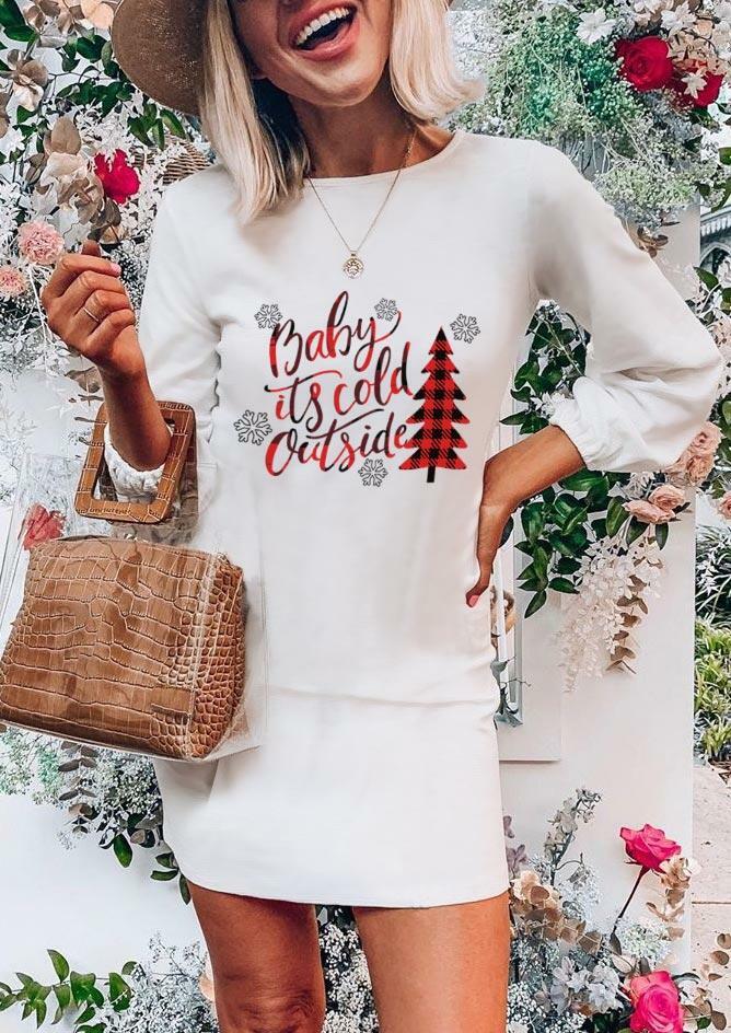 Christmas Plaid Tree Snowflake Baby It's Cold Outside Mini Dress - White
