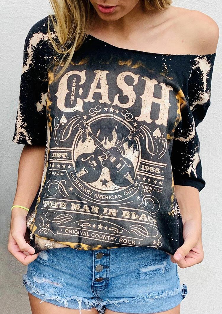 Fairyseason coupon: Johnny Cash Bleached O-Neck T-Shirt Tee - Black