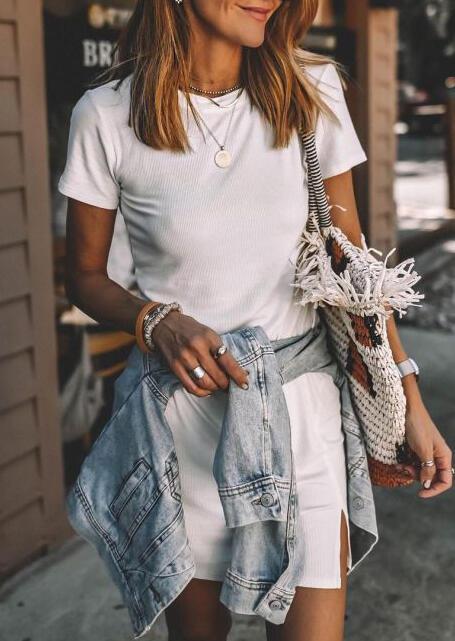 Fairyseason coupon: Side Slit O-Neck Mini Dress - White