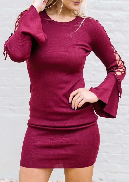 Lace Up Flare Sleeve O-Neck Bodycon Dress - Plum