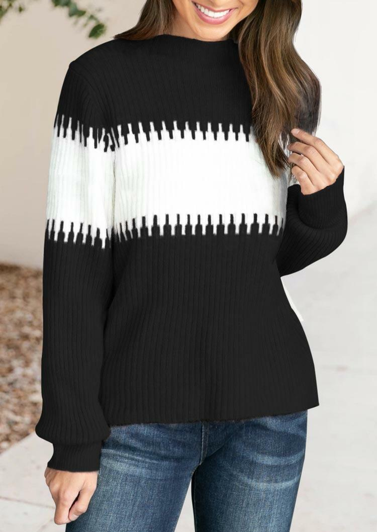 Color Block Lantern Sleeve Turtleneck Sweater - Black