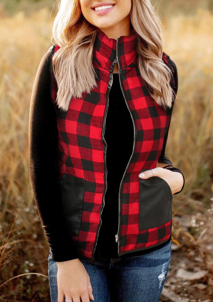 Fairyseason coupon: Buffalo Plaid Splicing Pocket Zipper Hooded Vest Coat