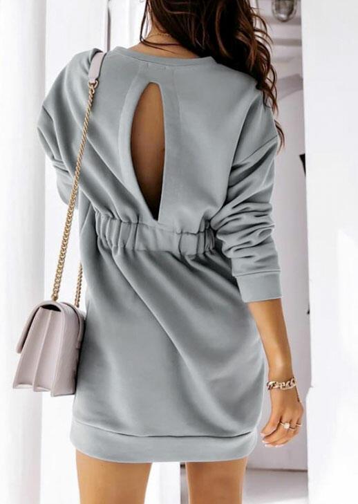 Fairyseason coupon: Hollow Out Elastic Waist Long Sleeve Mini Dress - Light Green