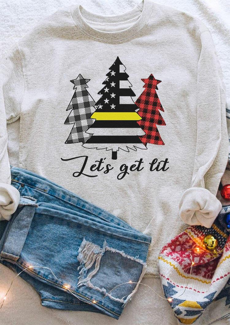 Plaid American Flag Christmas Tree Let's Get Lit Sweatshirt - Light Grey