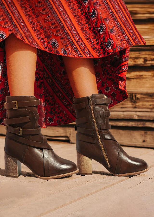 Vintage Buckle Strap Zipper High Heeled Boots - Dark Brown