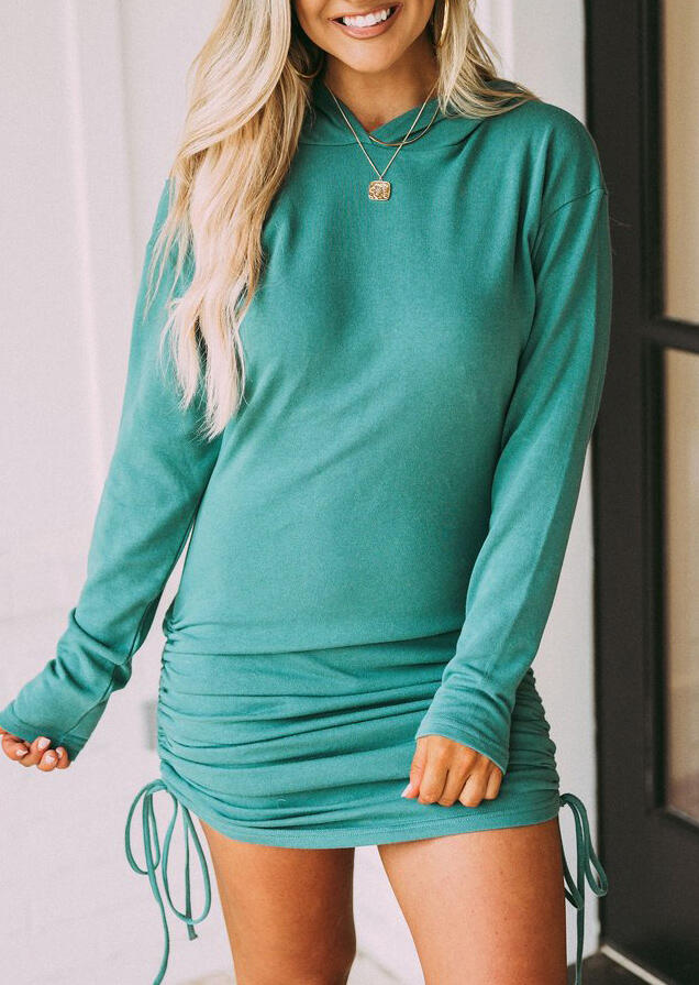 Ruched Shoulder Cut Out Hoodie Dress - Cyan
