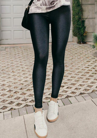 Winter Soft Warm Fleece Lined High Waist Leggings - Black