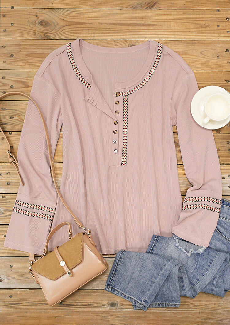 Zigzag Button Long Sleeve O-Neck Blouse - Pink