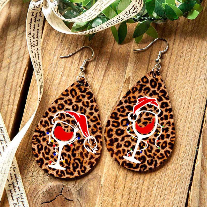 Christmas Double-Sided Hat Leopard Wine Glass Water Drop Earrings