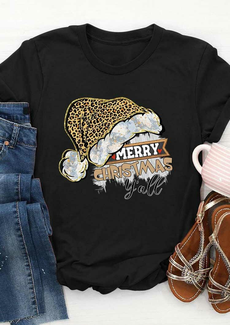 Merry Christmas Y'all Leopard Santa Hat T-Shirt Tee - Black