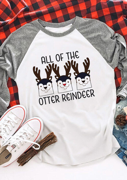 Christmas All Of The Otter Reindeer T-Shirt Tee - Gray