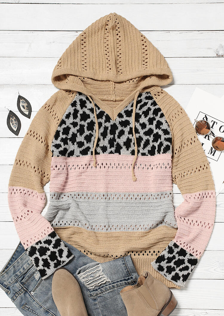Leopard Splicing Color Block Hollow Out Drawstring Hooded Sweater
