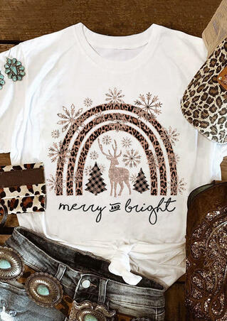 Christmas Leopard Rainbow Snowflake Plaid Merry And Bright T-Shirt Tee - White
