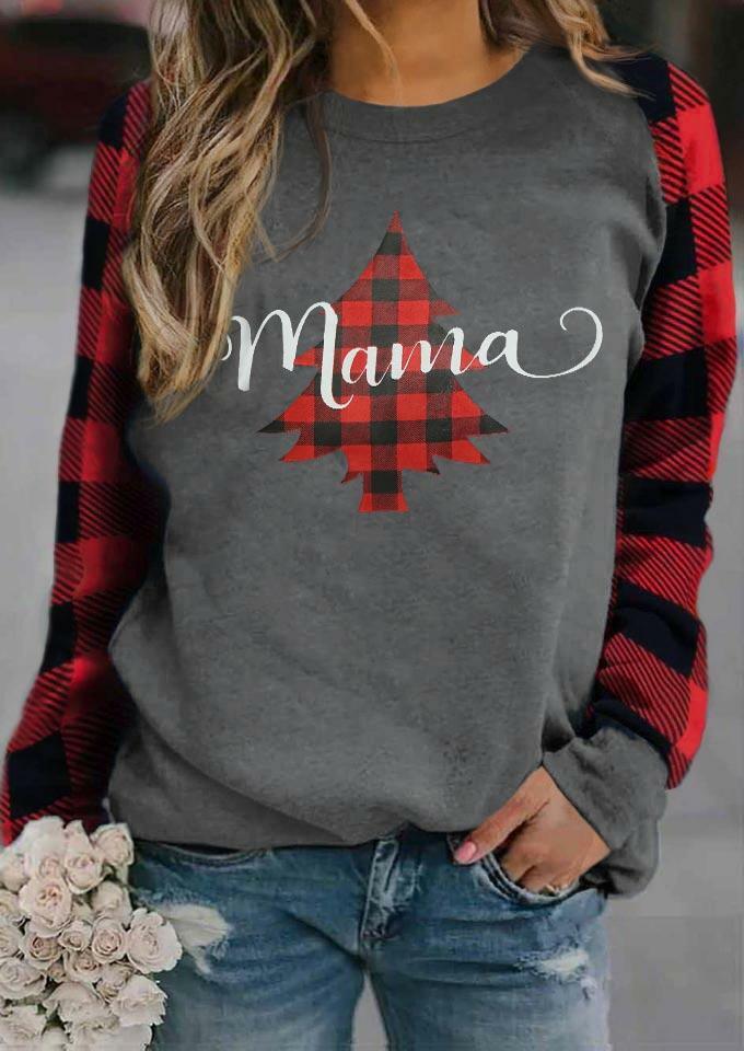 Fairyseason coupon: Buffalo Plaid Tree Mama T-Shirt Tee - Gray