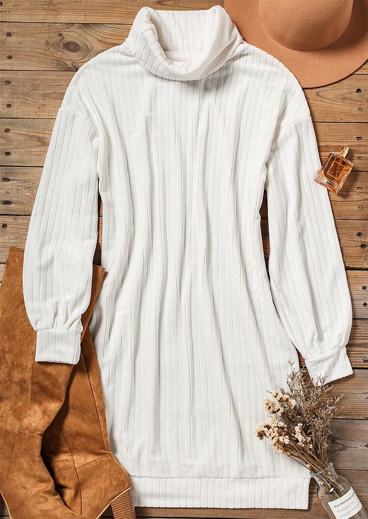 Elastic Cuff Long Sleeve Turtleneck Knitted Mini Dress - White