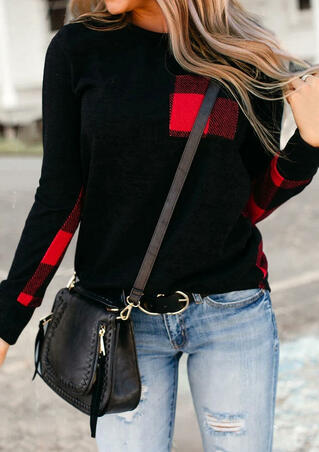 Buffalo Plaid Splicing Pocket Long Sleeve Blouse - Black