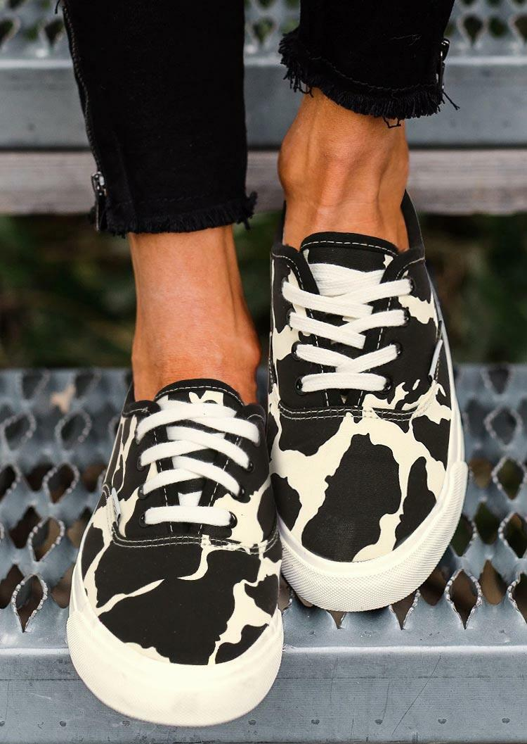 Fairyseason / Cow Print Lace Up Round Toe Flat Sneakers - Black