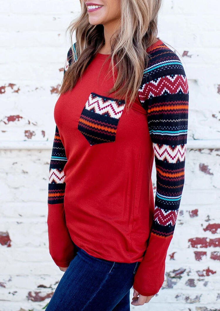 Blouses Aztec Geometric Western Pocket Raglan Sleeve Blouse in Red. Size: L