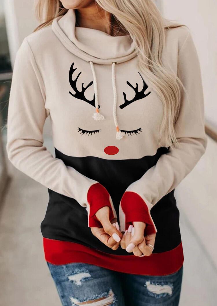 Christmas Reindeer Drawstring Thumbhole Hoodie - Flesh