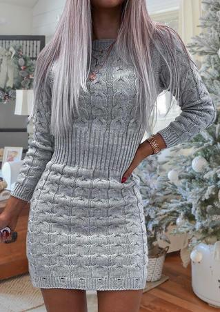 Knitted Temperament Waist O-Neck Long Sleeve Mini Dress - Gray