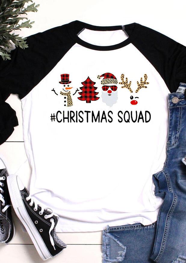Christmas Squad Snowman Buffalo Plaid Leopard T-Shirt Tee - Black