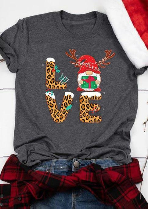 Christmas Gnome Reindeer Leopard Love T-Shirt Tee - Gray