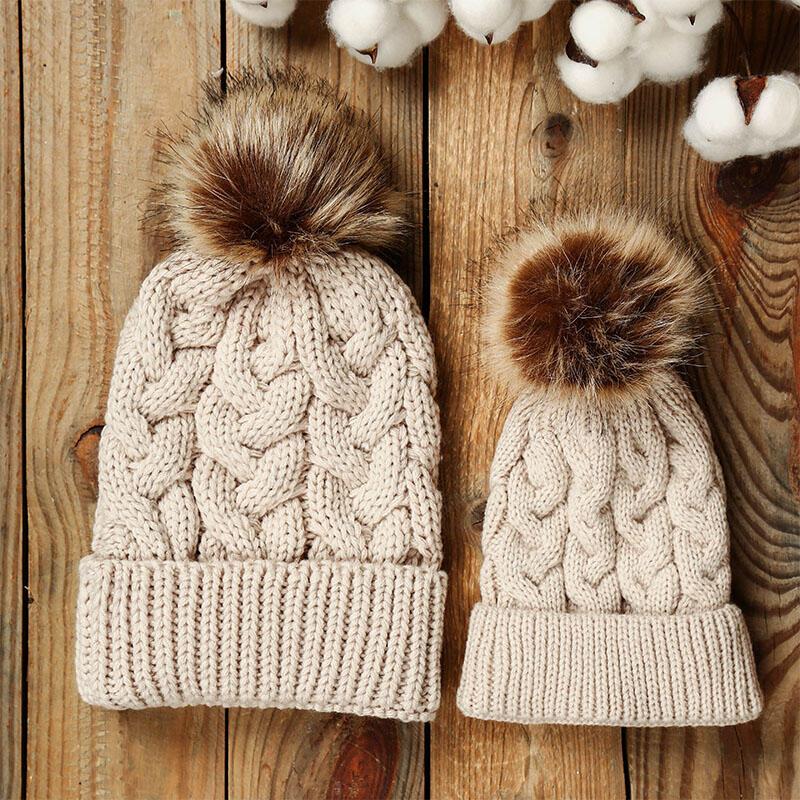 Warm Soft Crochet Hairball Knitted Beanie Hat
