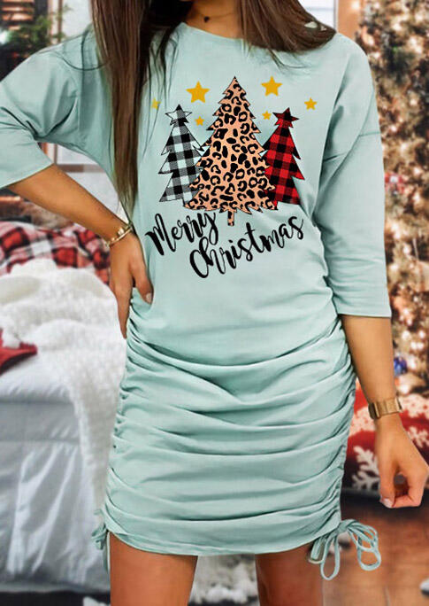 Merry Christmas Tree Leopard Plaid Ruched Drawstring Mini Dress - Light Green