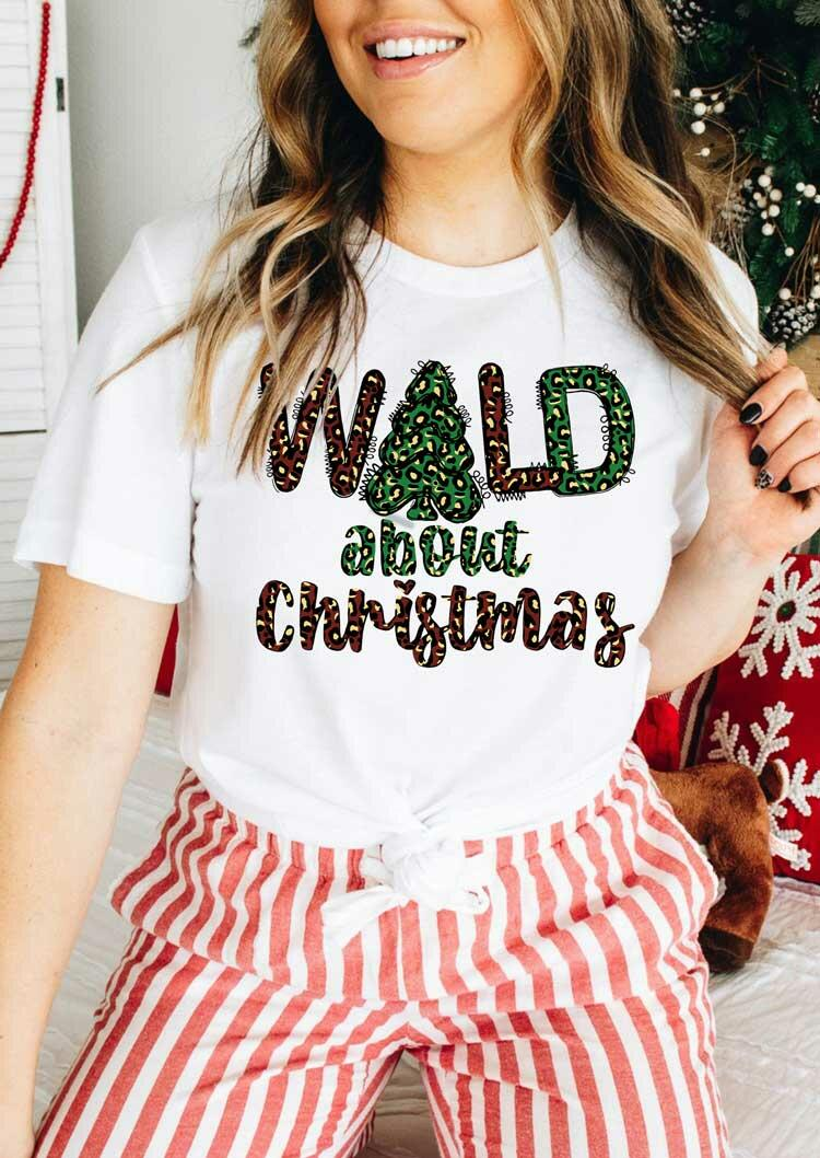 Wild About Christmas Leopard T-Shirt Tee - White