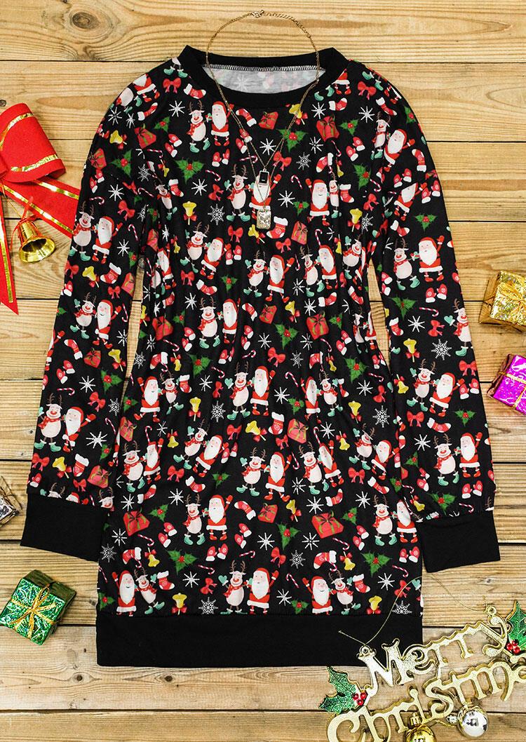 Christmas Santa Snowman Bell Long Sleeve Mini Dress