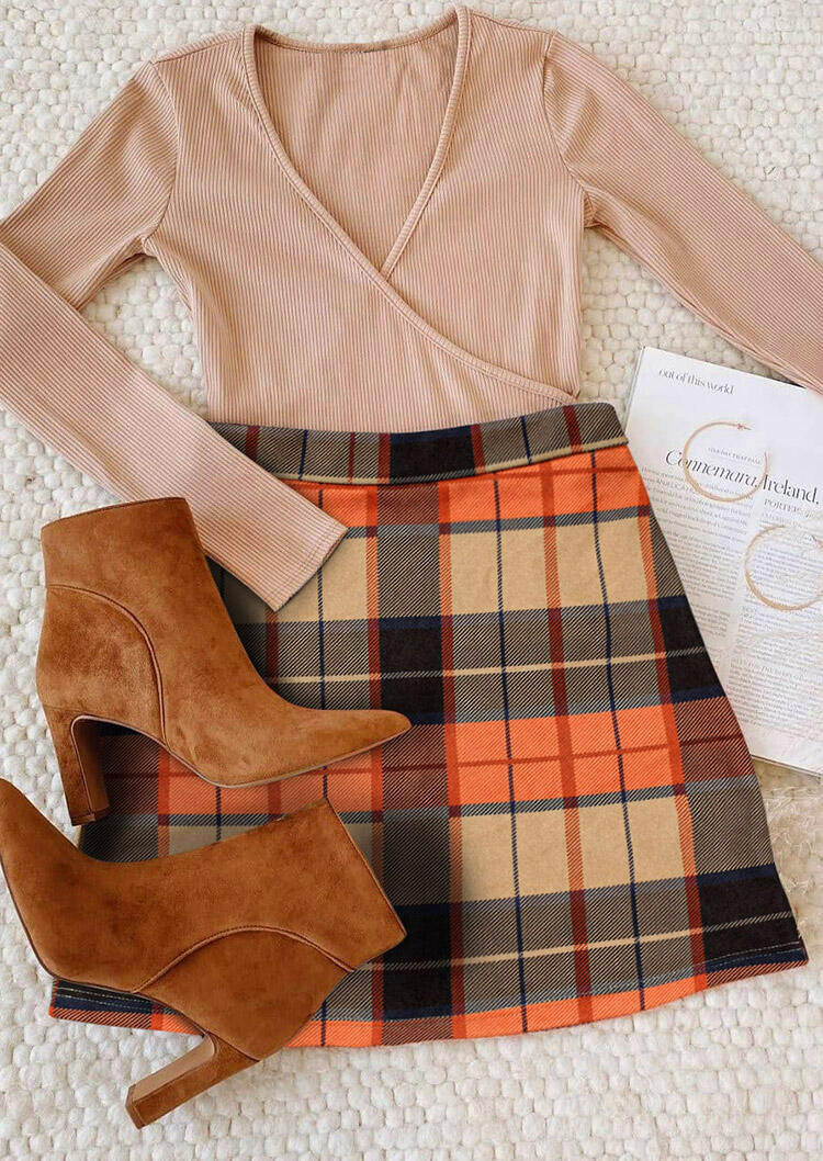 Plaid Zipper Mini Bodycon Skirt