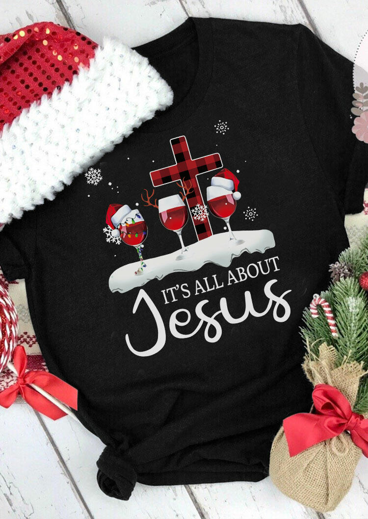 Christmas Wine It's All About Jesus Plaid Cross T-Shirt Tee - Black