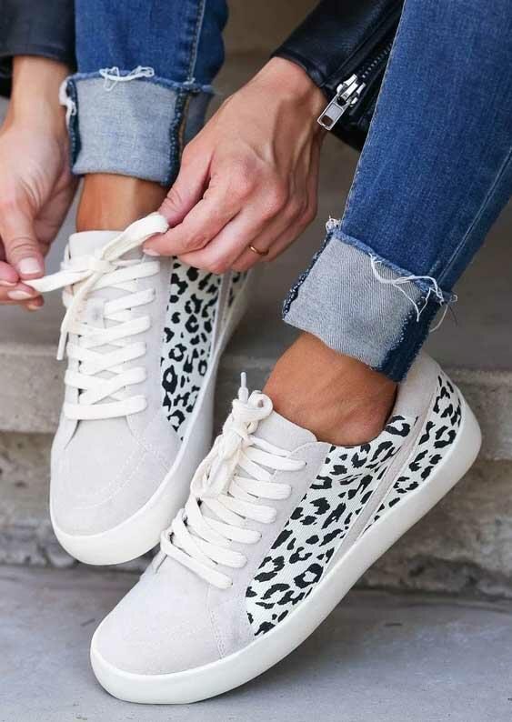 Fairyseason / Leopard Lace Up Round Toe Flat Sneakers - Gray