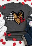 Plaid Leopard Love Heart O-Neck T-Shirt Tee - Gray