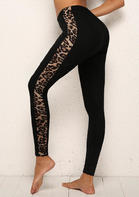 Leopard Splicing Mid Waist Stretchy Leggings - Black