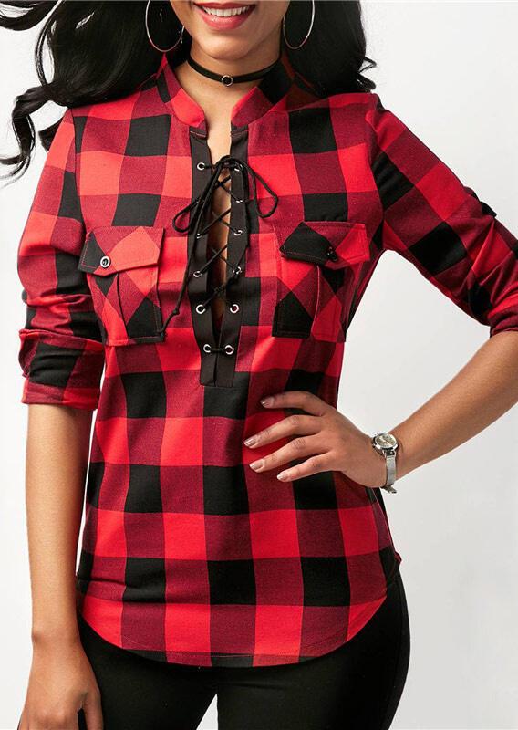 Buffalo Plaid Lace up Pocket Asymmetric Shirt - Red