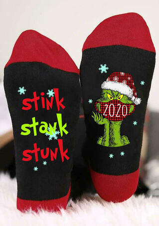 Christmas Stink Stank Stunk 2020 Plaid Grinch Socks - Red