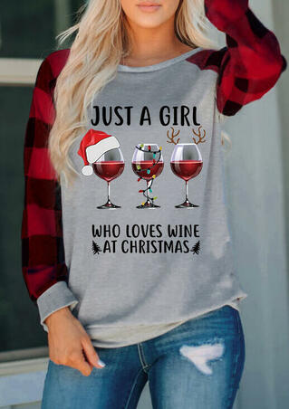 Just A Girl Who Loves Wine At Christmas Plaid T-Shirt Tee