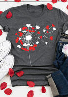 Love Heart Dandelion O-Neck T-Shirt Tee - Gray