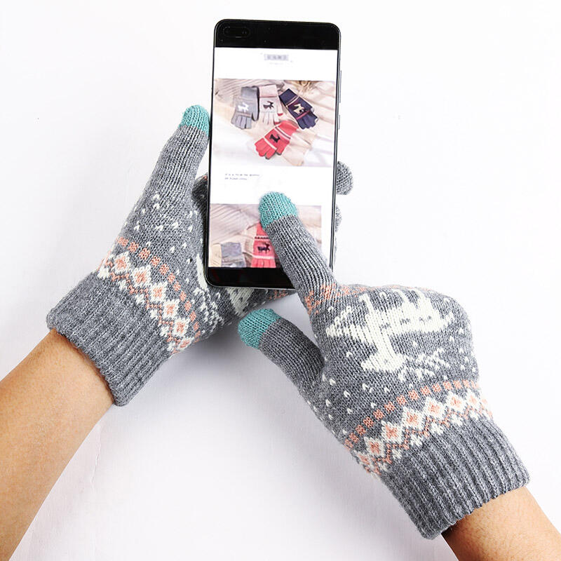 Gloves Christmas Reindeer Winter Warm Touch Screen Knitted Gloves in Gray,Rose Red. Size: One Size
