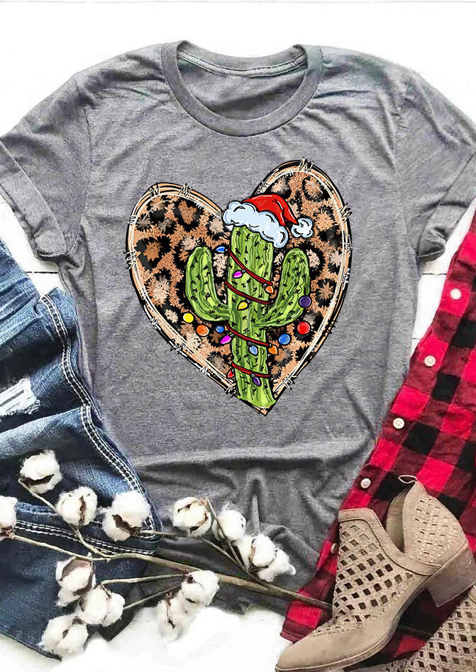 Fairyseason / Christmas Hat Leopard Heart Cactus T-Shirt Tee - Dark Grey