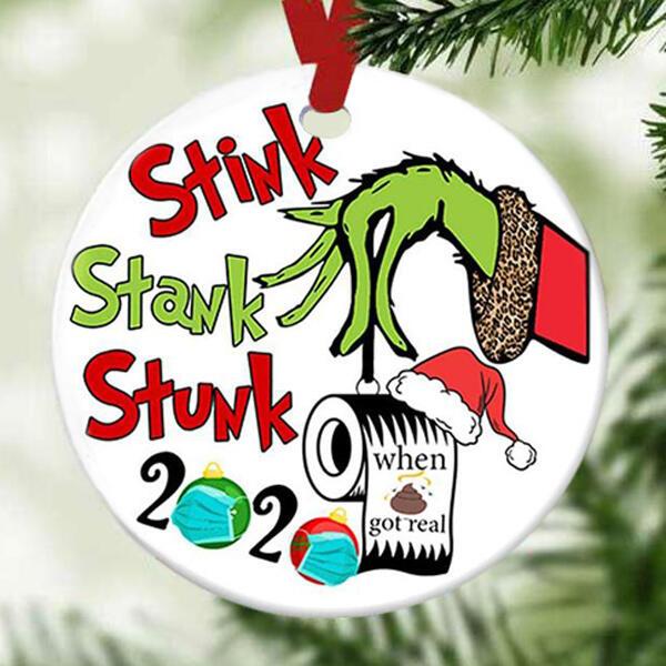 2020 Stink Stank Stunk Grinch Hand Christmas Tree Hanging Ornament