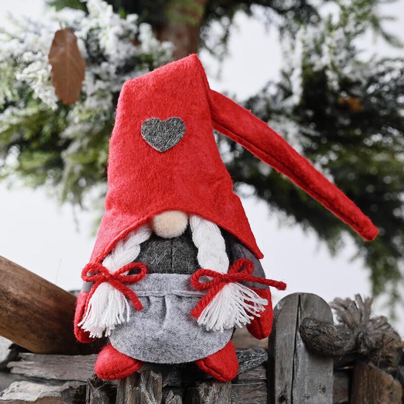 Christmas Gnomies Love Heart Bowknot Faceless Doll