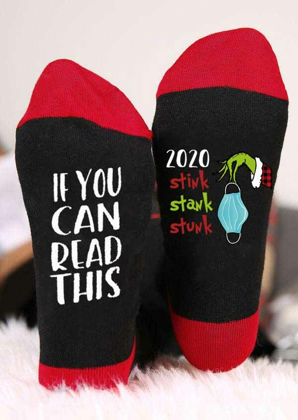 If You Can Read This 2020 Stink Stank Stunk Grinch Hand Socks - Red