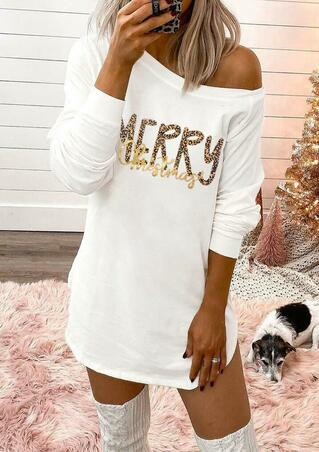 Merry Christmas Long Sleeve Mini Dress - White