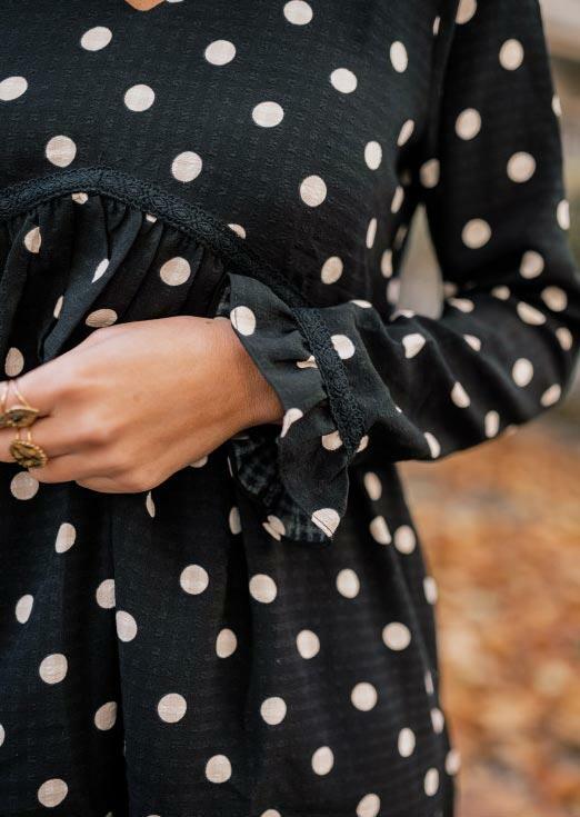 Polka Dot Ruffled V-Neck Mini Dress - Black