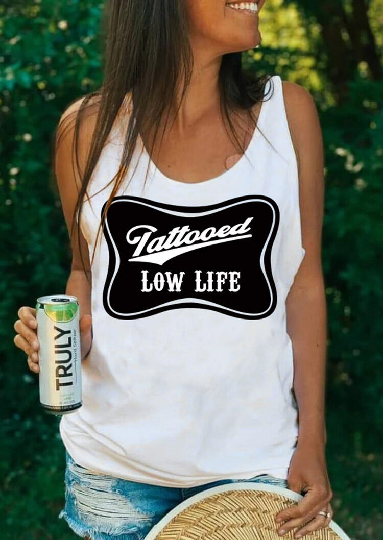 Tattooed Low Life Casual Tank - White