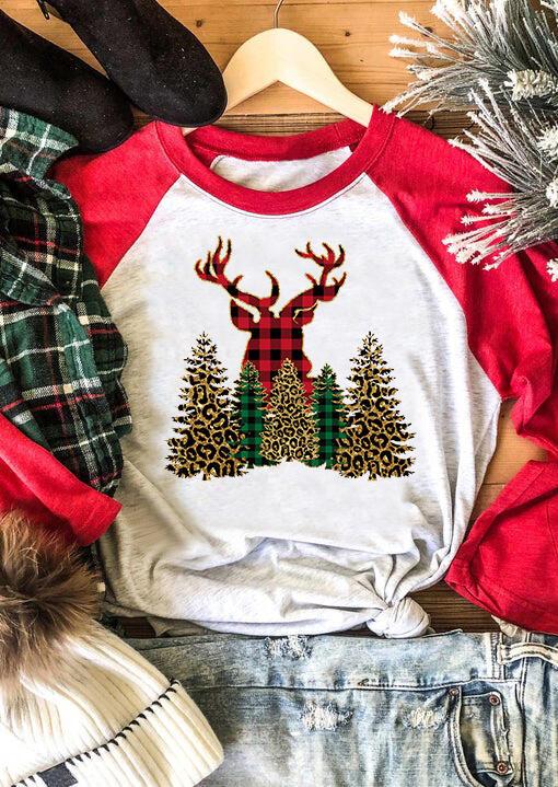 Christmas Trees Reindeer Plaid Leopard T-Shirt Tee - Red