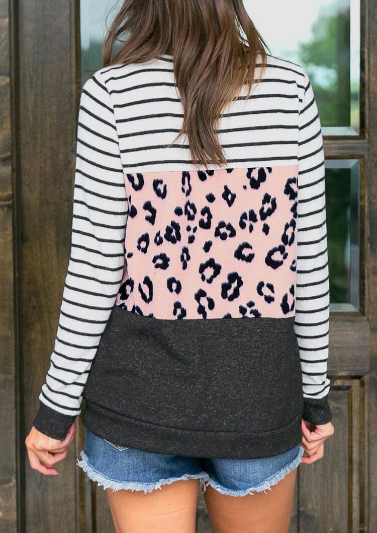 Striped Leopard Color Block Splicing Long Sleeve Blouse