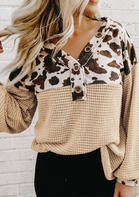 Cow Leopard Waffle Splicing Button Lantern Sleeve Blouse